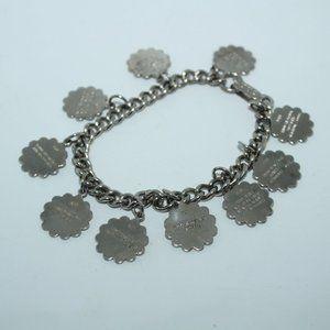 Silver Tone Charm Bracelet 10 Commandments